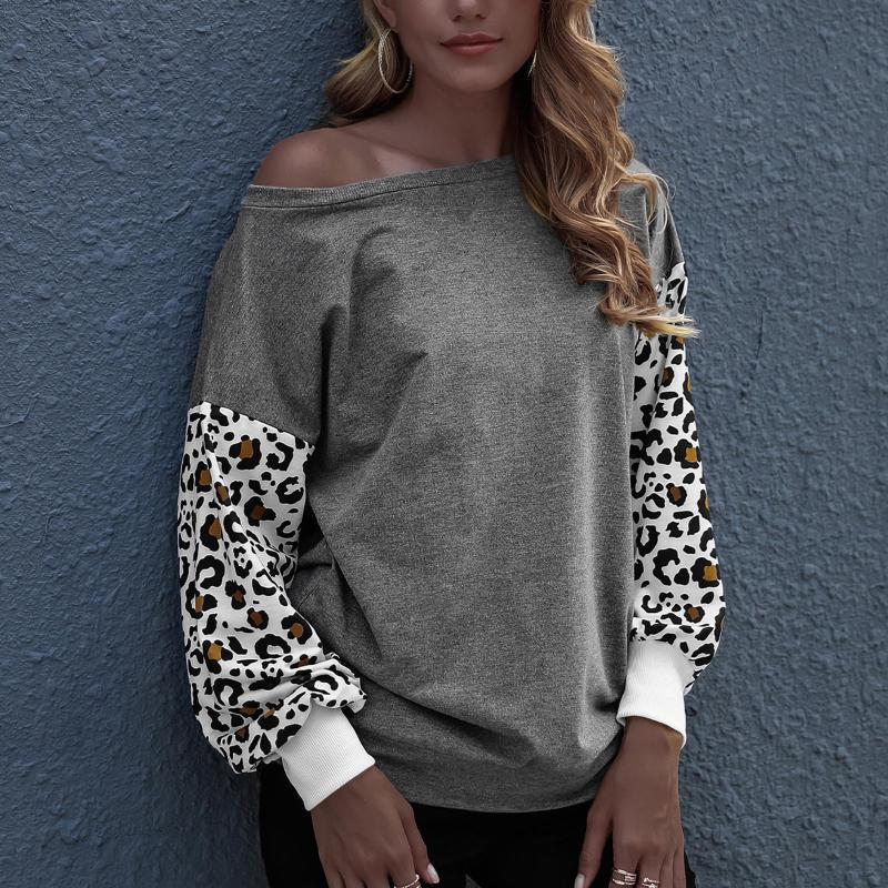 40 # Bayanlar Gevşek Leopar Baskı Tişörtleri Yuvarlak Boyun Uzun Kollu Kazak T-shirt Bayan Tops Tees Rahat Streetwear T Shirt