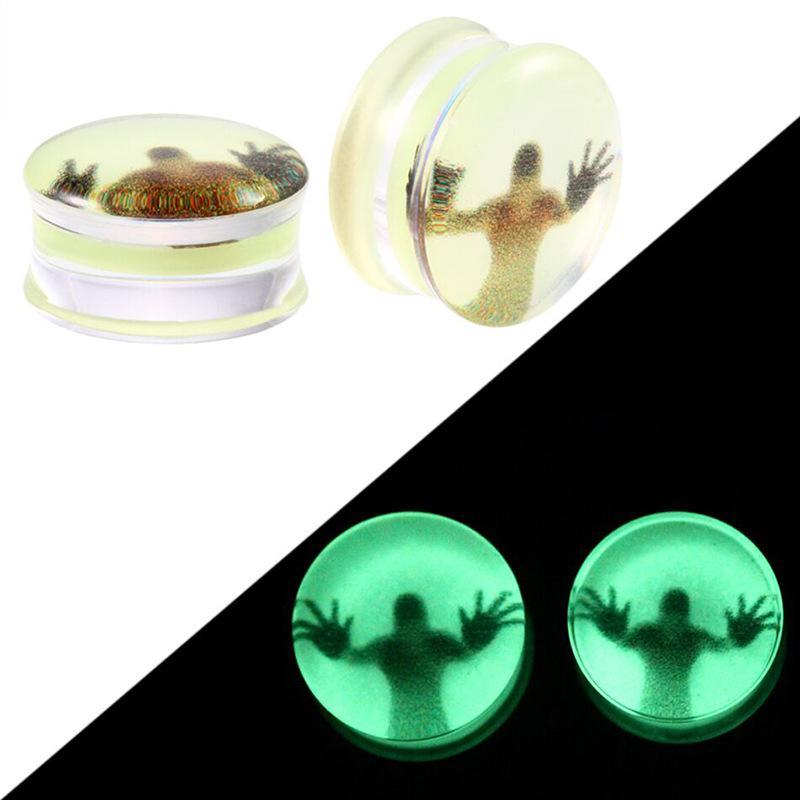Koyu Küpe Yeşil Kulak Tıkaçları içinde 2PCS Akrilik Glow ve Tüneller Flesh Tünelleri Göstergeler Kulak Genişletici Seksi Vücut Takı Piercing
