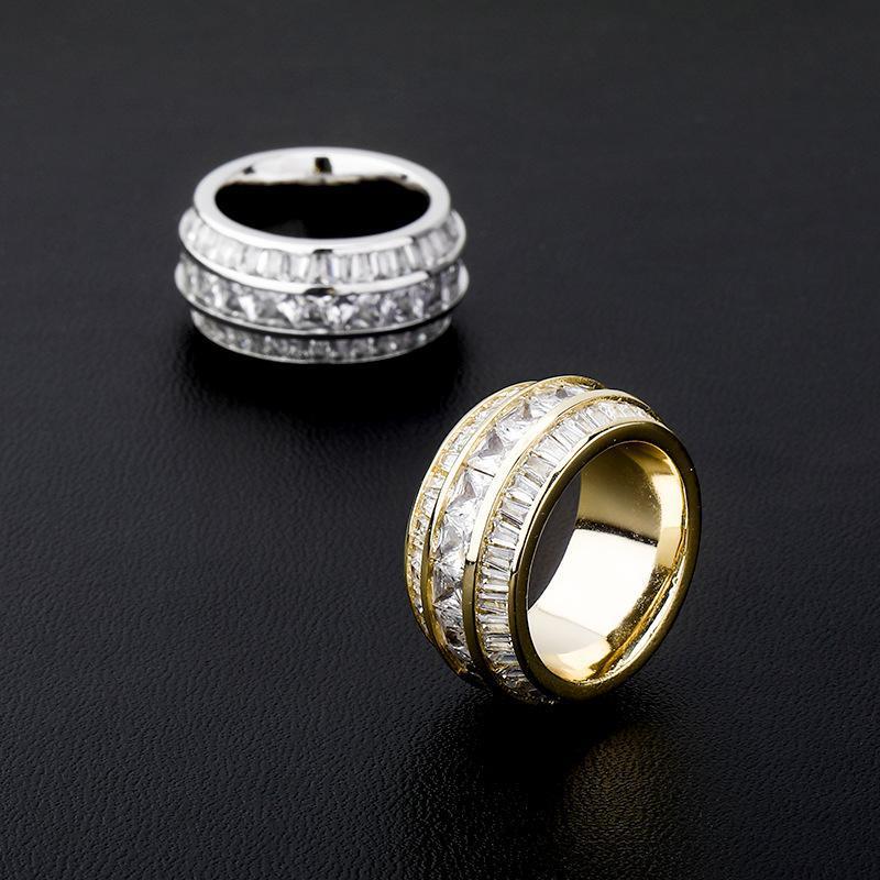 Femmes Hommes 3 rangées CZ pierre ronde Finger Rings Bling Glacé Rapper Bague Zircon Anneau