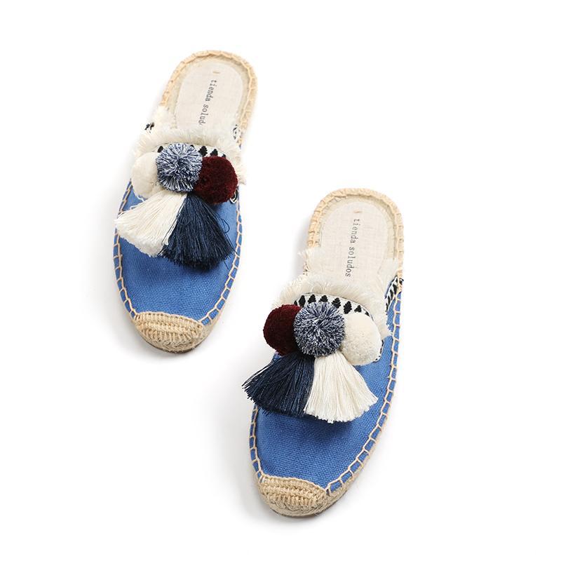Пушистые тапочки Женщины резиновые конопли Цвета Tienda Soludos Весна Летняя кисточка Пушистый шар Холст Мул Обувь Espadrilles Slides 201103