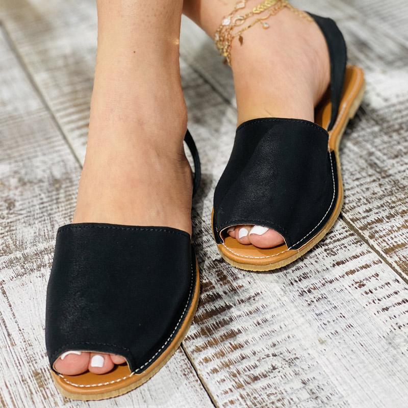 Женские плоские сандалии Peep Toe обувь PU кожаная швейная задняя ремень рыбака 2021 женская обувь летом повседневная мягкие дамы сандалии