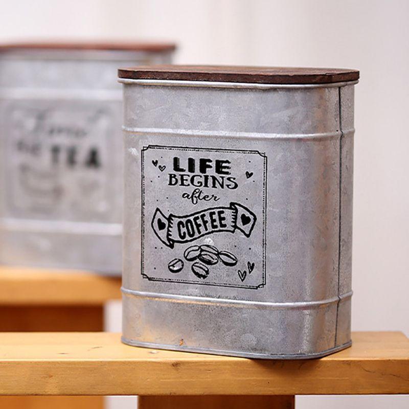 Caja de almacenamiento de la lata de la lata del caramelo cuadrado del metal de la vendimia con la cubierta de madera de la joyería de la joyería del condimento del café