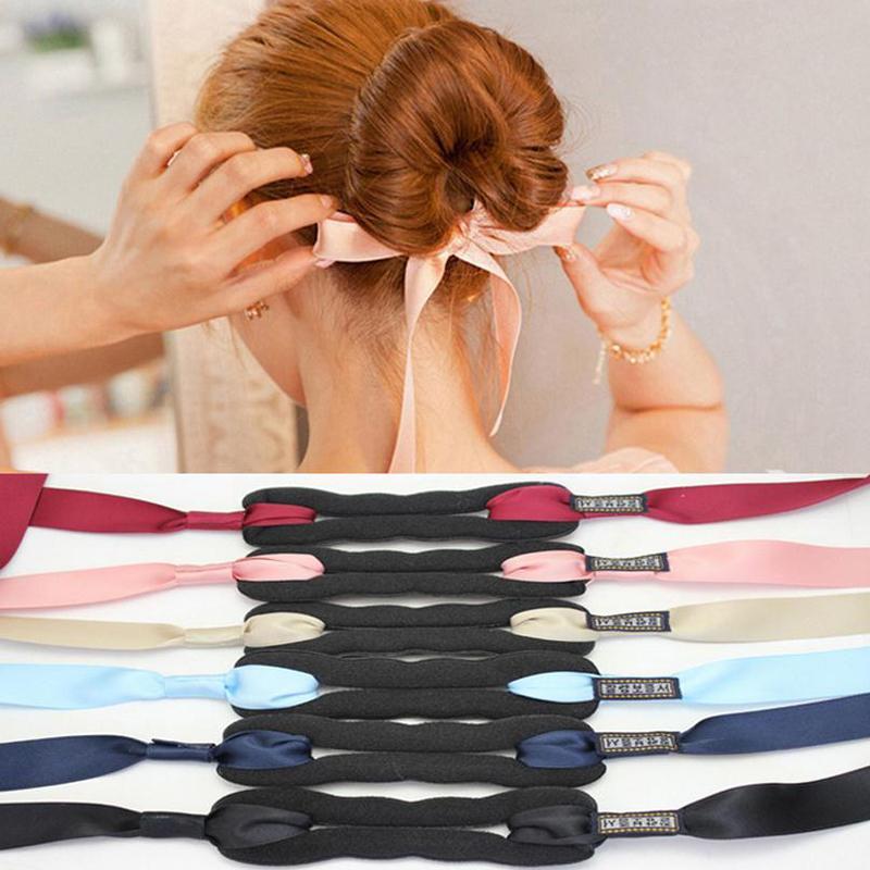 Ferramentas mulheres Cabelo Styling Magia esponja de espuma modelador de cabelo torção Criador fita bowknot Coque Criador Meninas Moda Penteado