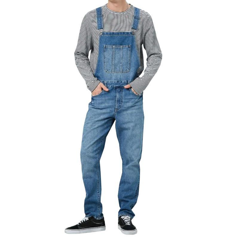Mens Jeans Retro Denim Overall Pocket Jumpsuit Male Jeans Suspender Trousers Men Clothing Overall Casual Denim Pants