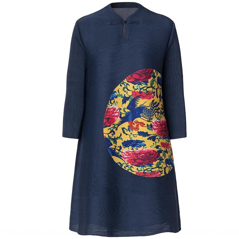 EJW94 Miyake Aline Aline w3QHI etek elbise kadın baskı şişman bahar elbise 2.019 gevşek büyük boy yeni mm kaplı et işlemeli pilili