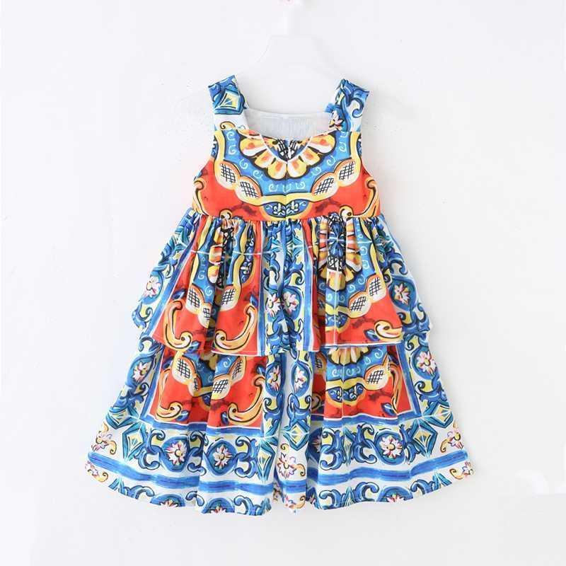 Vestidos da menina meninas meninas 2021 verão Europeu e americano vestido crianças sem mangas padrão impressão para 3-9y crianças princess1