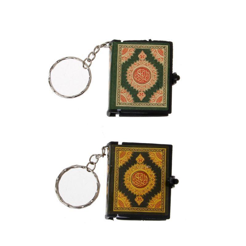 Mini Arche Coran Real Book papier peut lire l'arabe du Coran musulman Keychain de bijoux porte-clés