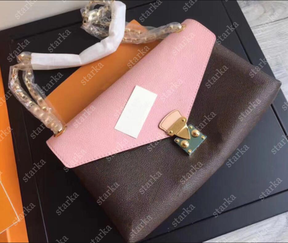 Neue Original Chic Handtasche Taschen Pallas Kette Tasche Geldbörsen Oxidation Leder Crossbody Bag Black Umhängetaschen Rucksack Geldbörse Alles Spiel M41200
