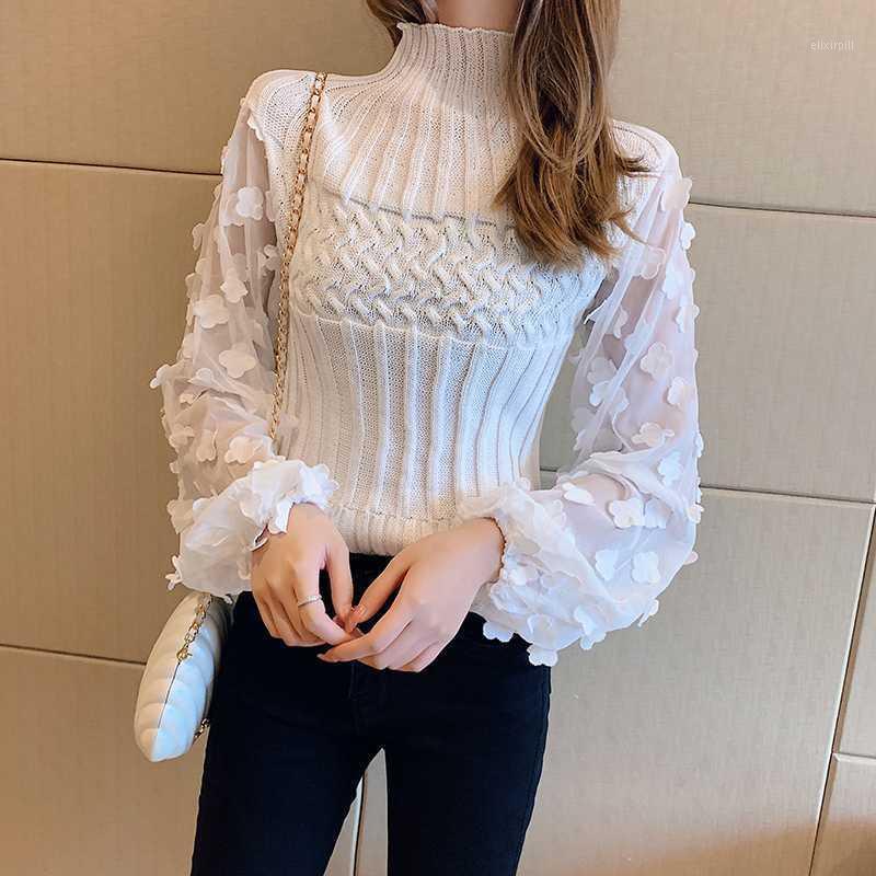 Apliques florales malla remiendo suéter mujeres linterna de manga de punto jerseys tortuga torreado torcido tapas recortadas jumper white x4091