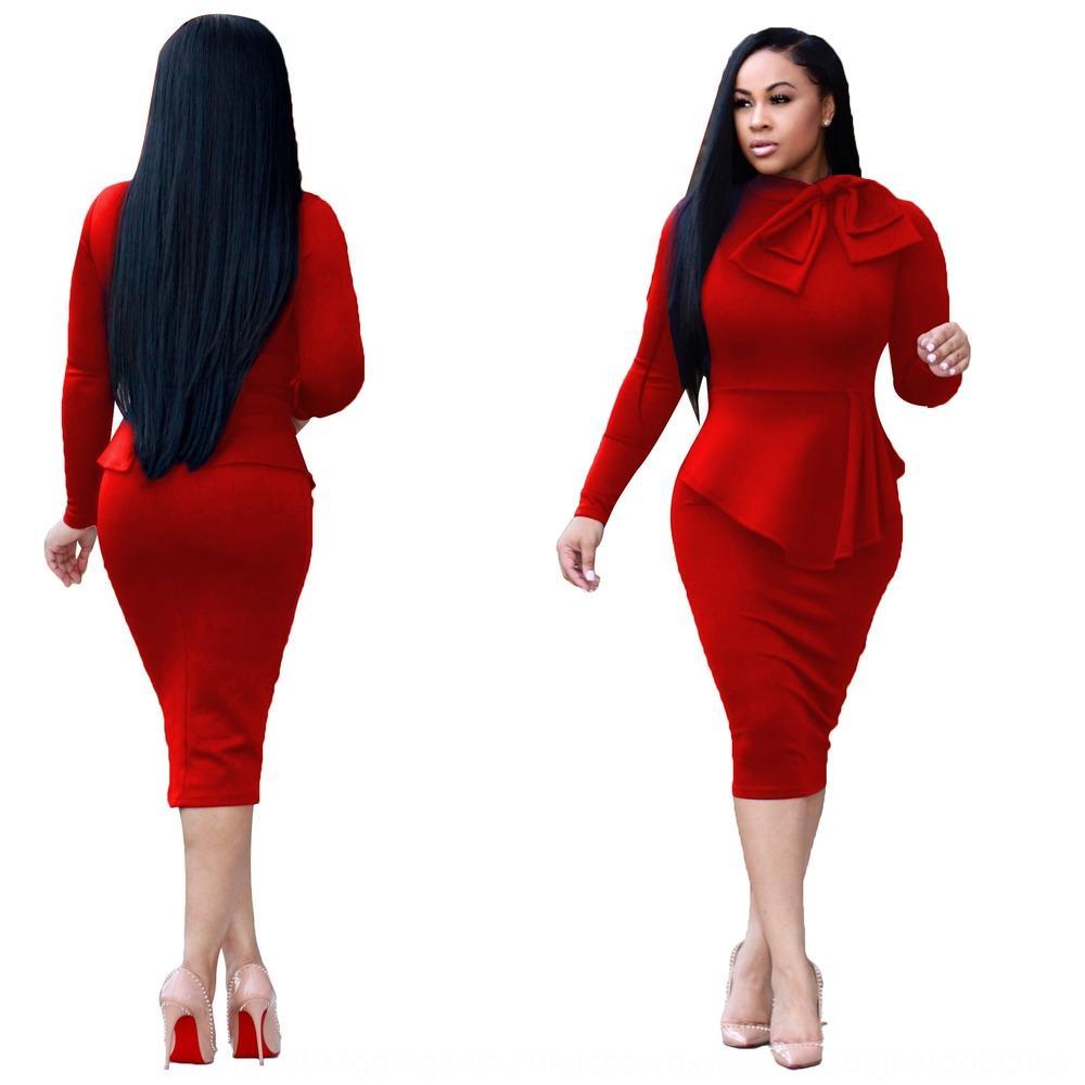 2019 autunno 'il colore solido manica lunga slim fit per la moda di colore slim fit solido di 2019 donne di autunno di modo Dress abito manica lunga f