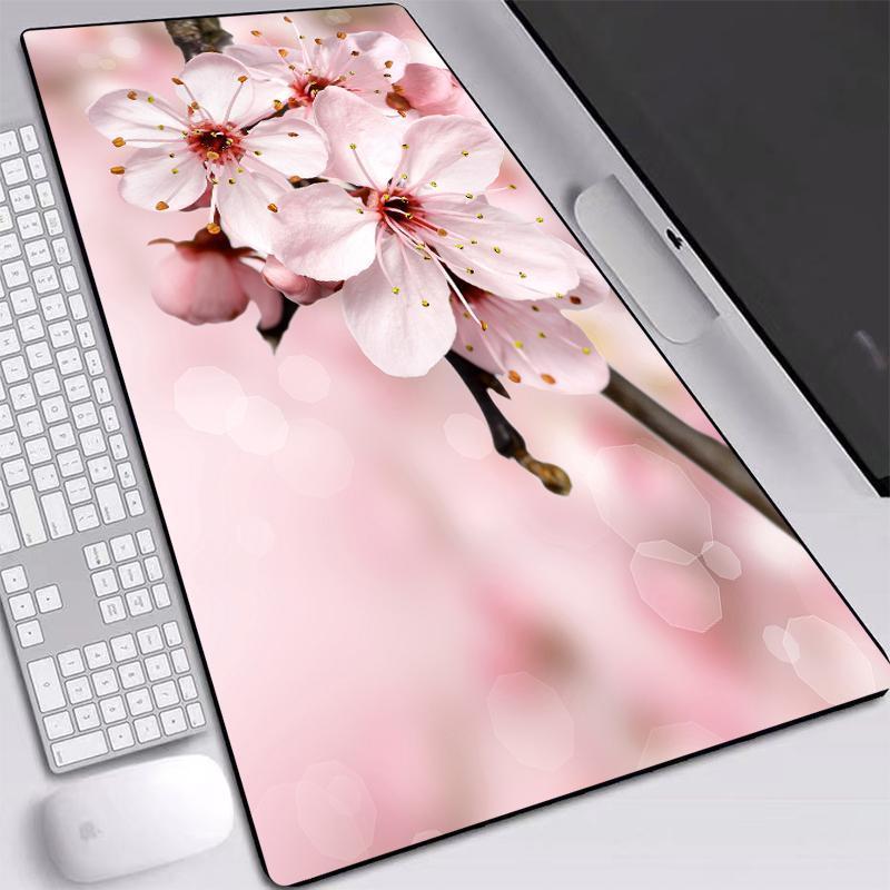 Flower Pink Mice Mat Большой размер пользовательских Personality Mouse-коврик 90x40cm противоскользящая водонепроницаемый с пришитыми Ребра Desktop Маты для девочек