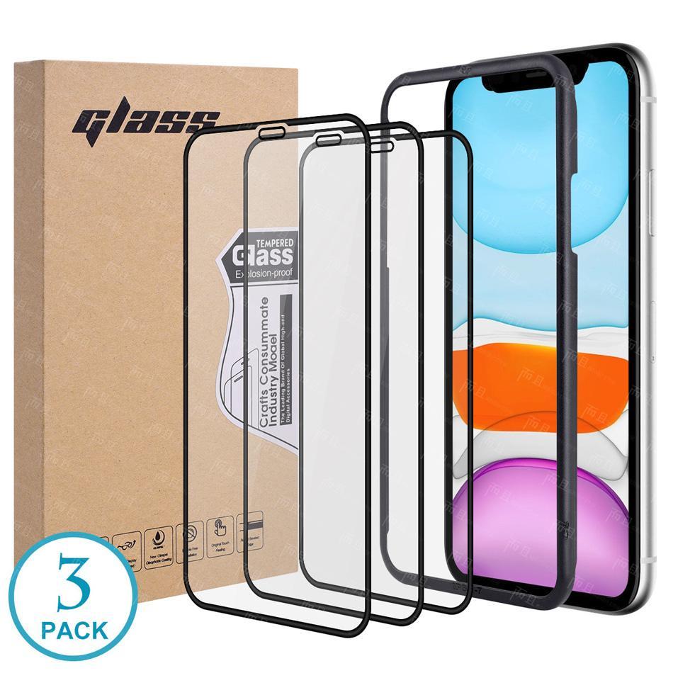 Per iPhone 12 Protezione dello schermo in vetro temperato con vassoio di installazione 9D Anti-abbagliamento completo per iPhone XR XS Max 7 8 Plus