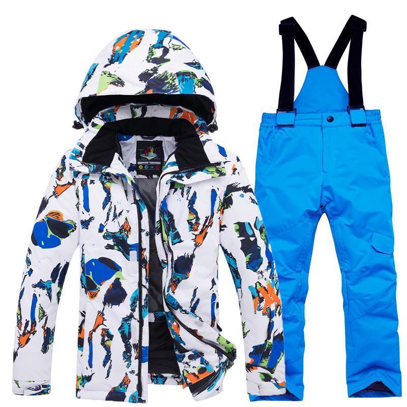 Лыжные костюмы Детские лыжные Лыжный костюм Девушки и мальчики Дети Толстый Теплый Водонепроницаемый Ветрозащитный Набор сноуборда
