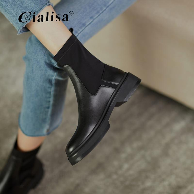 CIALISA Женской обувь 2020 Мода Нового дизайна из натуральной кожи Эластичной Mid каблук ботинка Лоскутных скольжения на Круглом Toe ботильоны