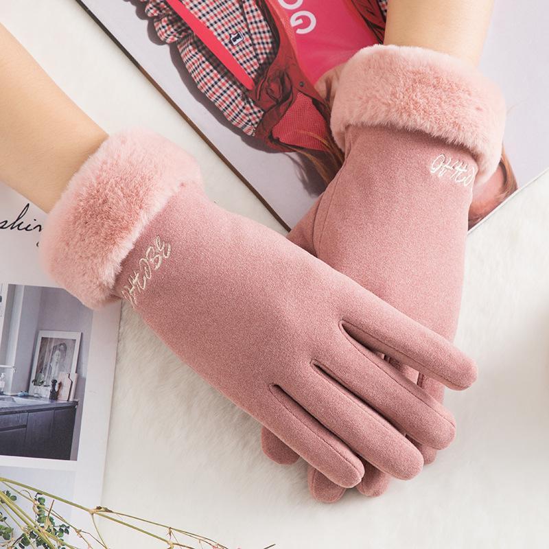 Пять пальцев перчатки женские сенсорные экраны замшевые перчатки зима искусственные волосы наручные во рту утолщение теплые шерстяные флисовые варежки