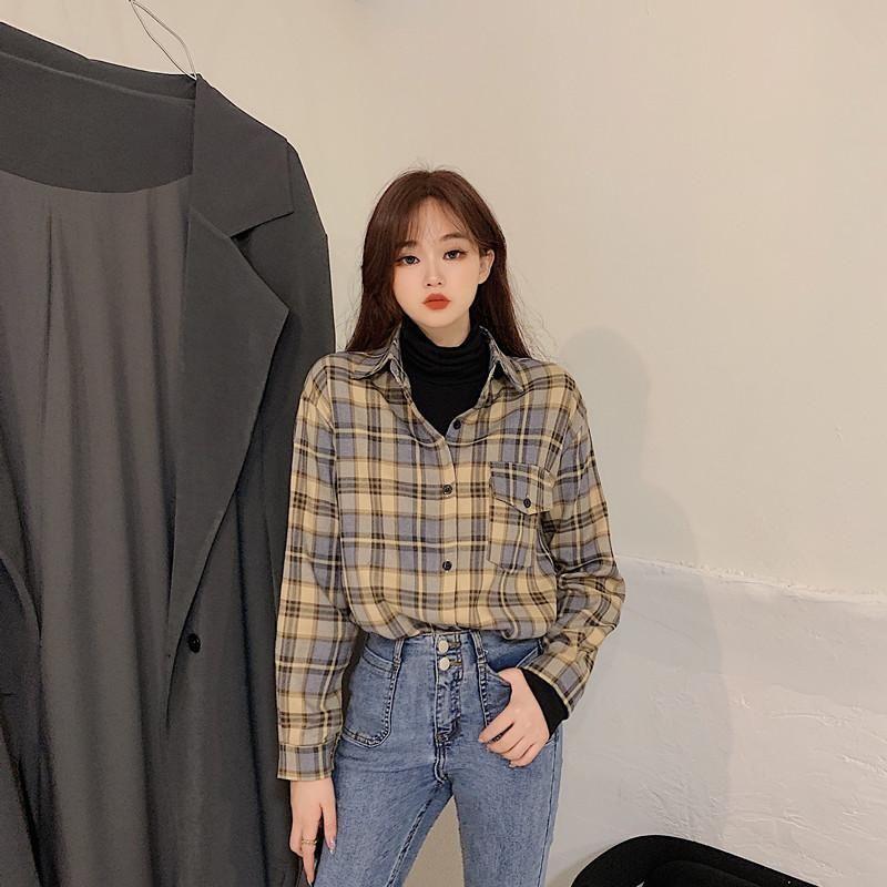 2020 Mode Frauen Chic Übergroße Plaid Langarm Weibliche Lässige Drucken Shirts Stilvolle Baumwolle Tops