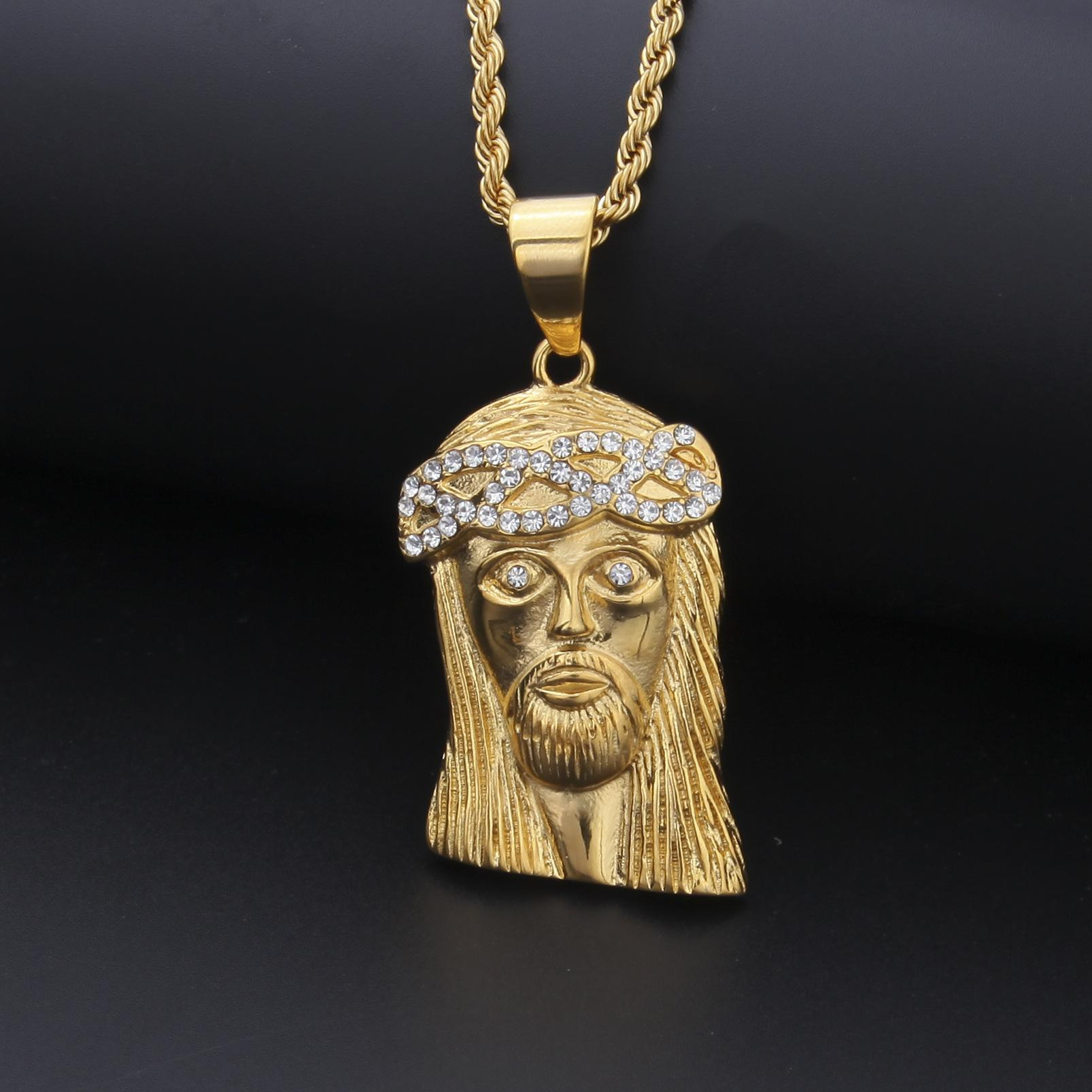 Mens Hip Hop gioielli collana dell'acciaio inossidabile di modo GESÙ pezzo Collana collana di alta qualità dell'oro
