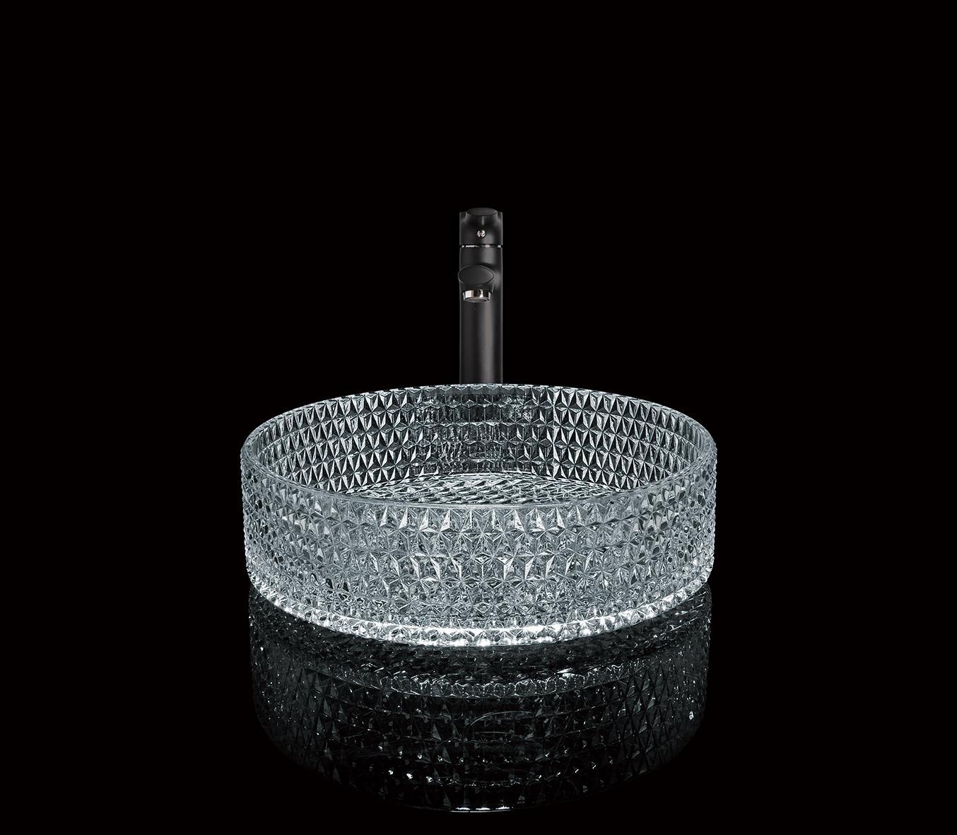 Elmas Desen Tasarımı Şeffaf Yuvarlak Banyo El yapımı Lavabo Tezgah Lavabo Züccaciye Lavabo temperli