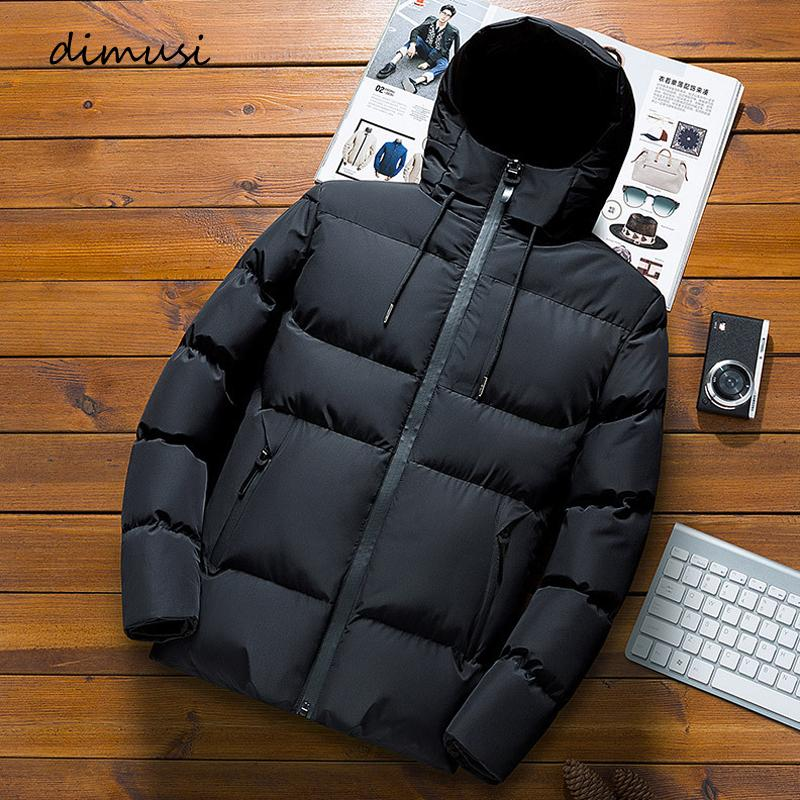 DIMUSI Winter Mens Jacket Fashion Men Cotton Thick Warm Parkas Man Casual Outdoor Windbreaker Thermal Down Hooded Coats Clothing