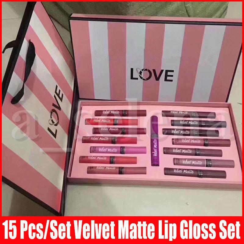New Lip Makeup Amor Velvet Matte Creme Lip Stain Gloss Set Líquido Lipstick 15 cor de longa duração kits de maquiagem umidade Lipgloss com saco do presente