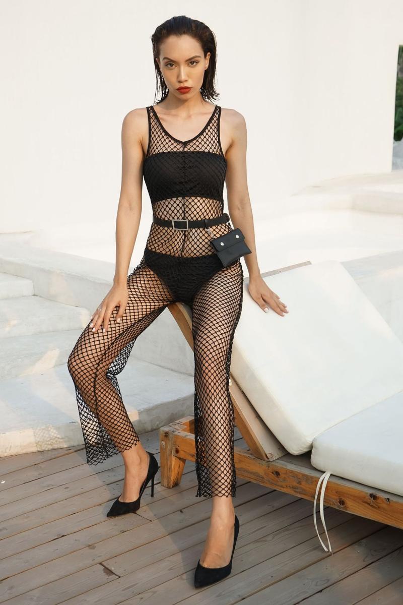 Hot Damen Sexy Fischnetzausschnitt Perspektive sexy Overall