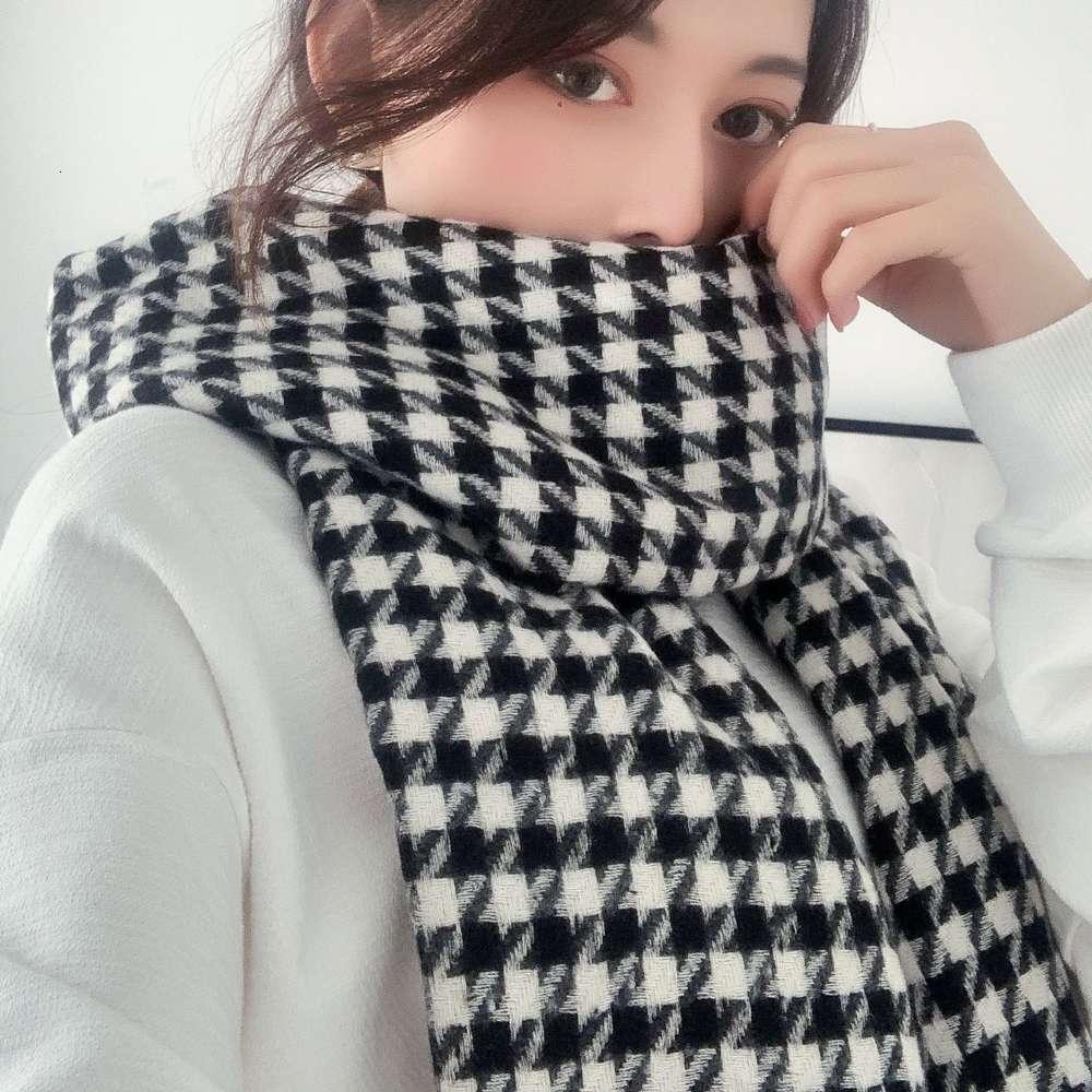 Bufanda femenina otoño invierno miles a pájaro cuadros tejiendo cachemire como rayas casual barba cálido y versátil grueso grueso cuello