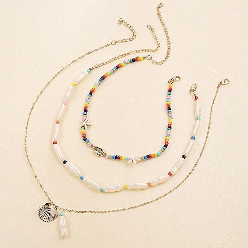 3 Pz / Set Starfish Shell Pendant Simulated Pearl Beaded Handmade Multi-Layer Necklace Vendita calda Collana Choker Collana Gioielli Donne 20201