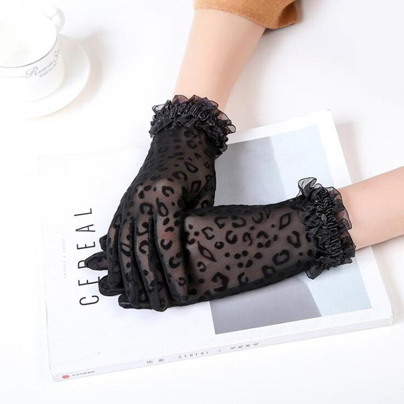 Sexy Leopard Lace Gloves Women Transparent Driving Gloves Ladies Summer Full Finger Sunscreen Weddingg Party