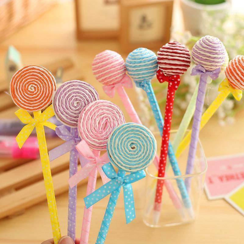 6 unids / lote Novedad Plástico Kawaii Candy Color Color Forma Ball Point Lollipop Ballpoint Pen Lindo Papelería Suministros Escolares1