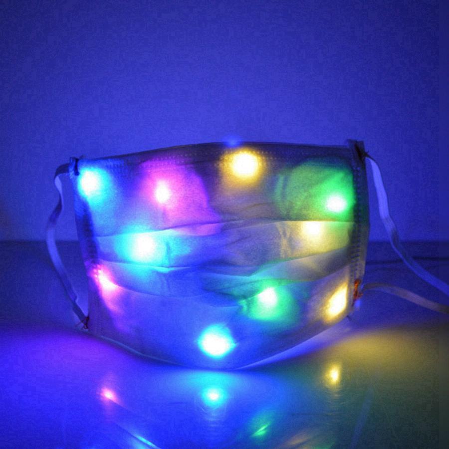 LED Light Up Halloween Christmas Дизайнер лица Маски Красочный светодиодные Световая маска Пром Ночной клуб Хэллоуин украшения светящегося маски RRA3652