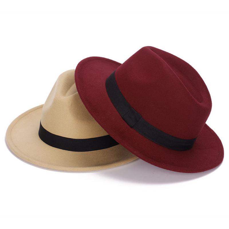 HT1224 Nouveau mode Femmes Hommes Fedora Hat Jazz large Brim Cap Vintage Panama Sun Top Hat unisexe Solide Rouge Gris Wool Felt