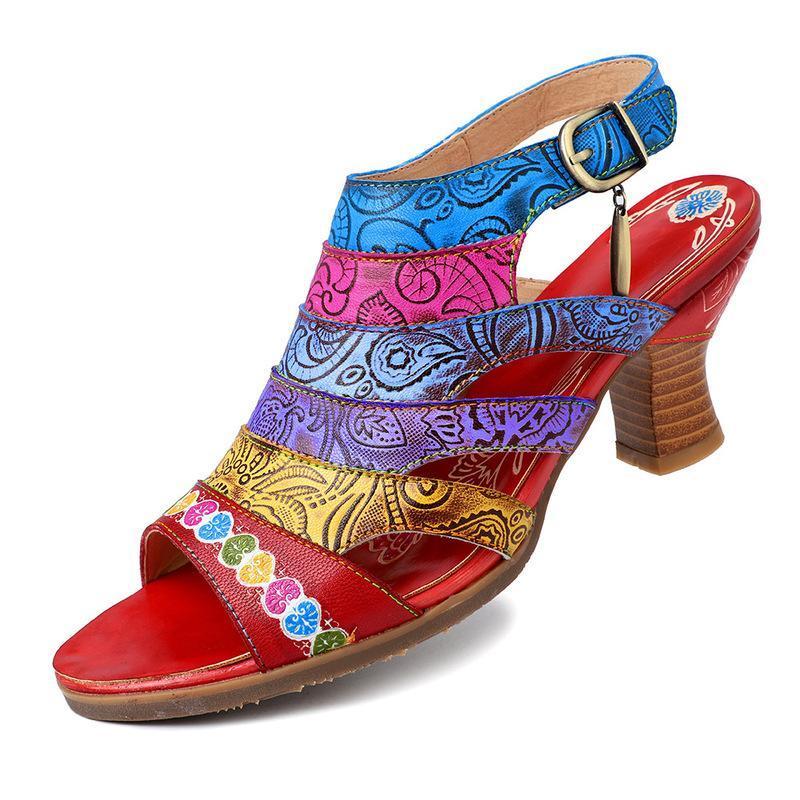 Cuero auténtico sandalias súper cómoda con lentejuelas Diseño floral venas Hook Loop zapatos elegantes sandalias de las mujeres del verano 2020