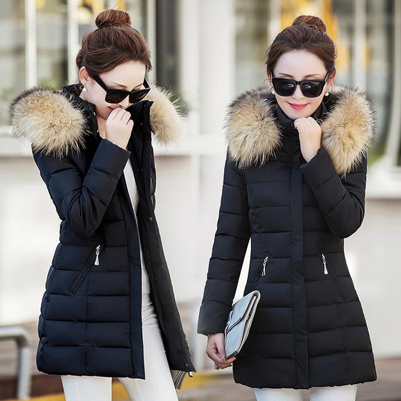Mulheres para baixo parkas jaqueta de inverno mulheres parka meados de algodão de algodão casaco com capuz outwear mais tamanho grosso acolchoado R567