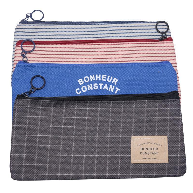 1 Stück Einfach Striped Plaid-Bleistift-Kasten Zipper Oxford Cloth Mäppchen Student Schreibwaren Junge Mädchen Learning School Supplies