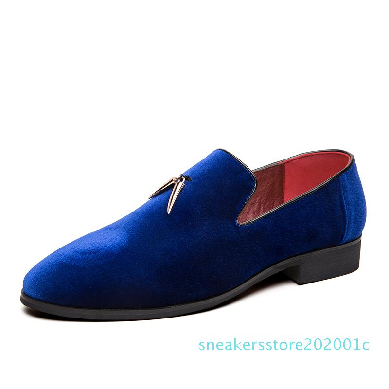 sIfashion party and wedding handmade men loafers men velvet shoes Leaves and gold buckle men dress shoe mens flats 01s