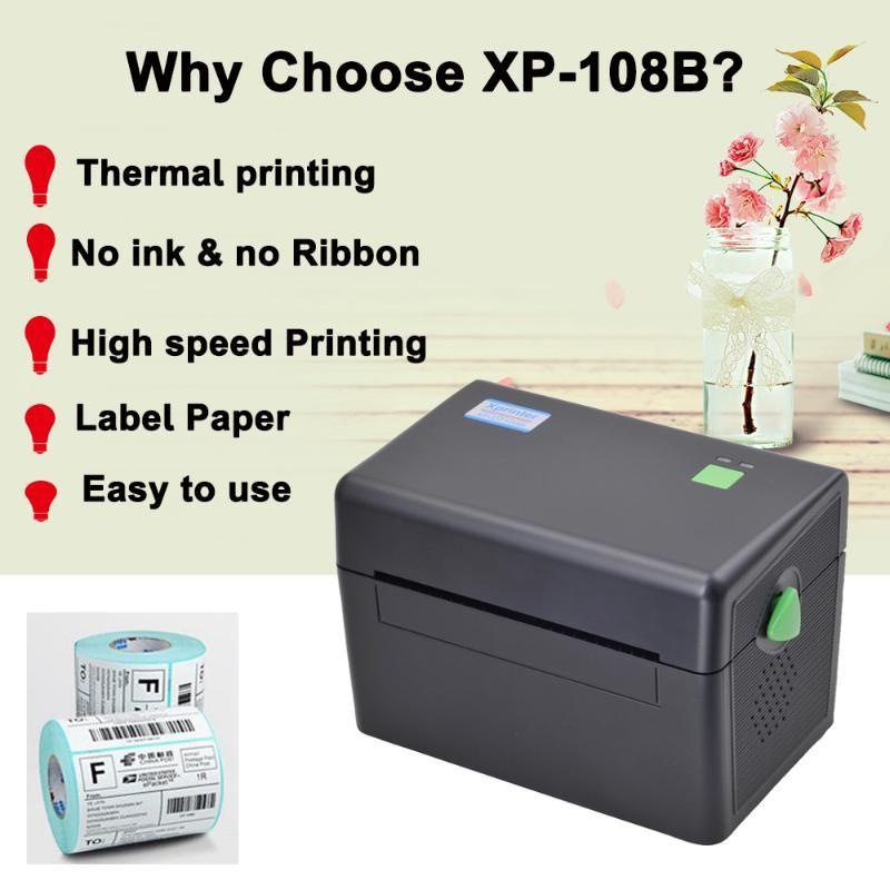 XPRINTER 4-дюймовый термический принтер метки термической доставки совместимый с мобильным телефоном и компьютером Нет необходимости чернил и ленты