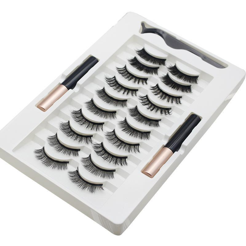 Faux cils 10 paires de cils magnétiques Ensemble de cils naturels durables Lashs étanche Eyeliner Extension TSLM2