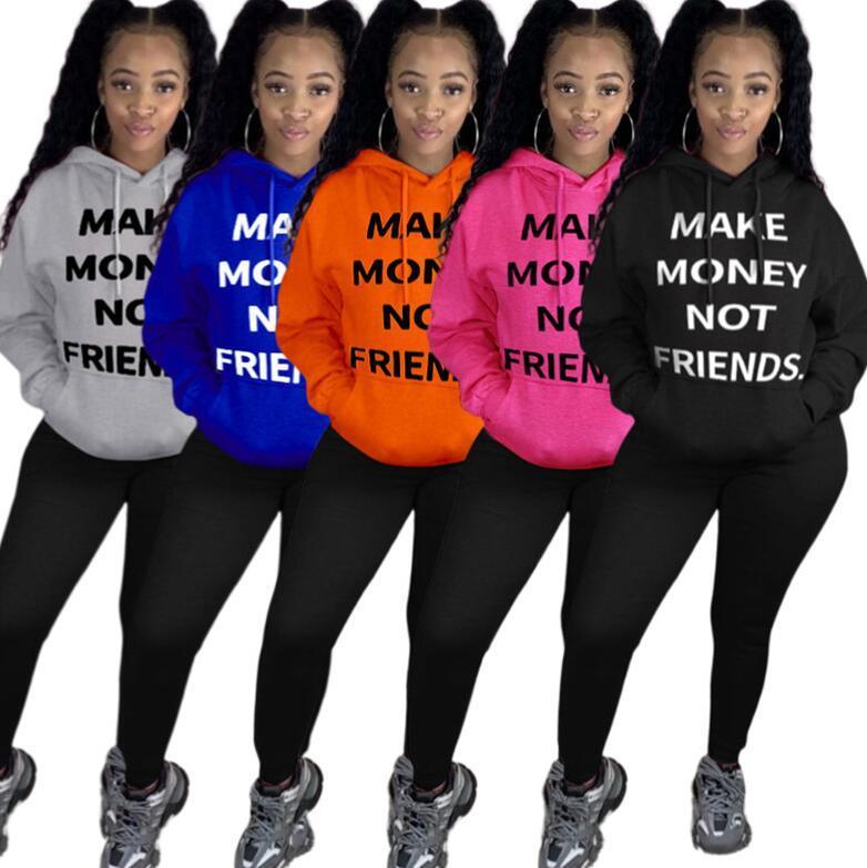 Ganhar dinheiro não amigos Carta Top Plus Size Mulheres Brasão suéter pulôver camisola jaqueta de inverno quente Tops Casacos Roupa D102103
