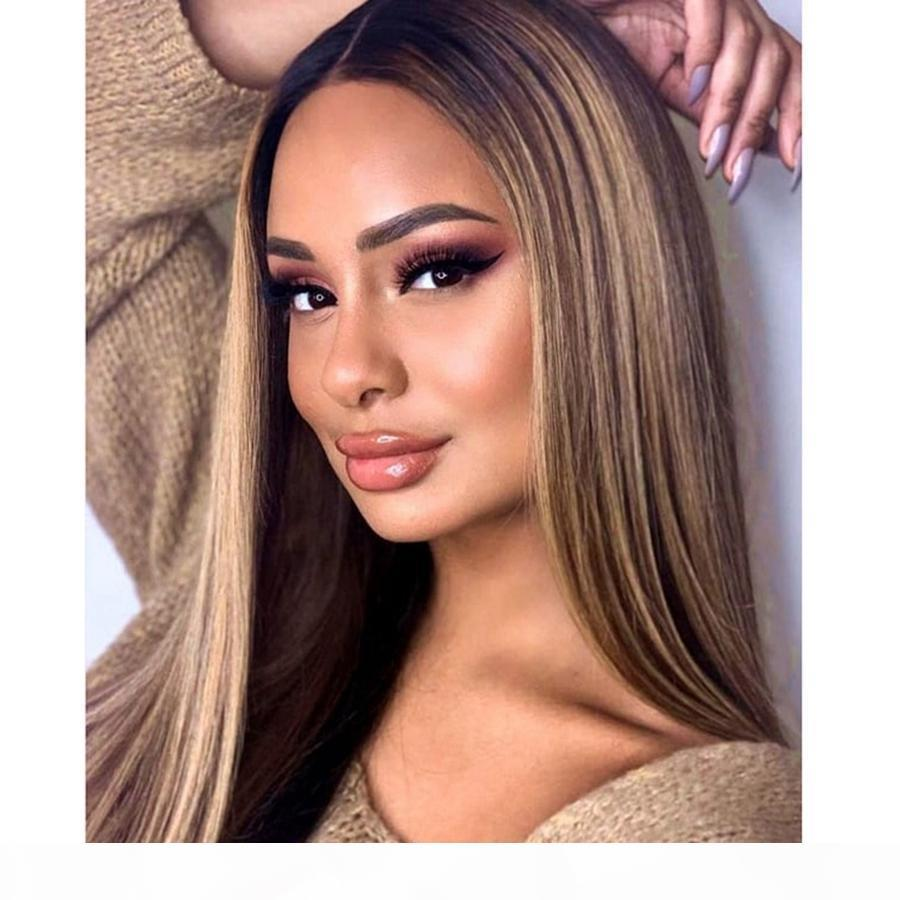 OMBRE BLONDE MARRONALES DISFRIONES DE CORTE DE CORDADOR 13X6 Pelucas para el cabello humano con cabello bebé Pelucas de encaje completo brasileño 360 Encaje Frontal Frontal Hairline