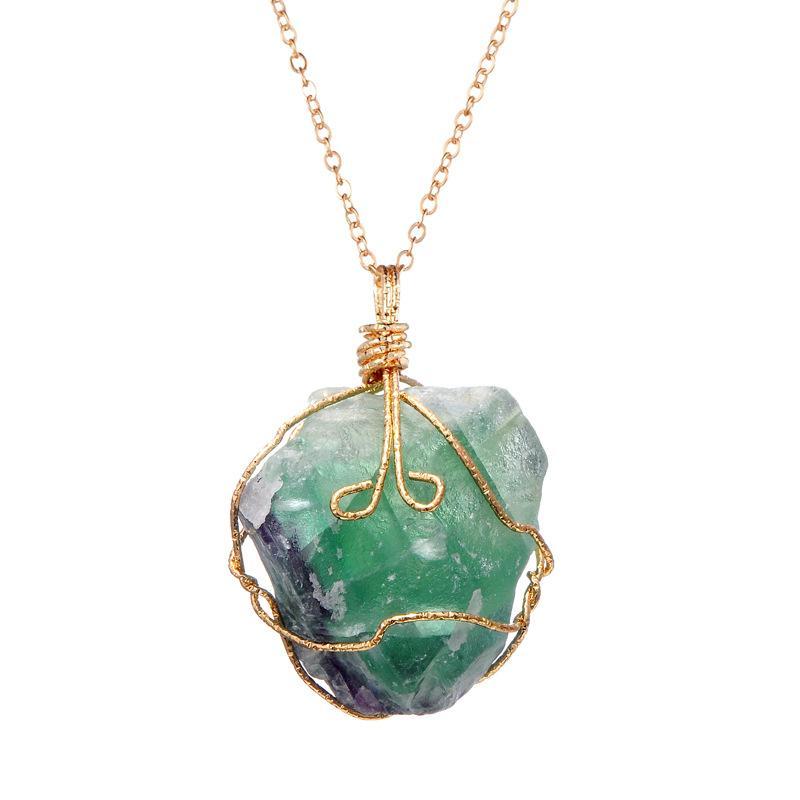 الأحجار الكريمة الطبيعية غير النظامية قلادة القلائد سلسلة الذهب حجر ملزمة قلادة المرأة الأزياء والمجوهرات هدية الإرادة والأزياء الرملي