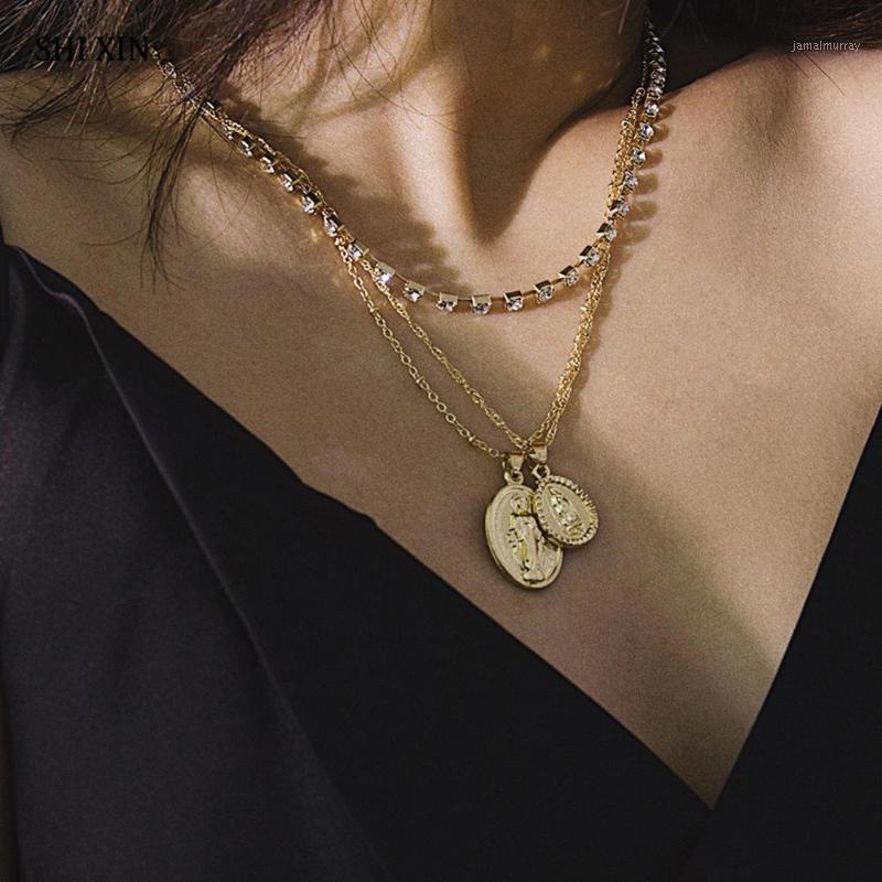 Кулон ожерелья Shixin слоистые кристаллические цепные ожерелье для женщин мода религиозные украшения для религиозных украшений на шее 1