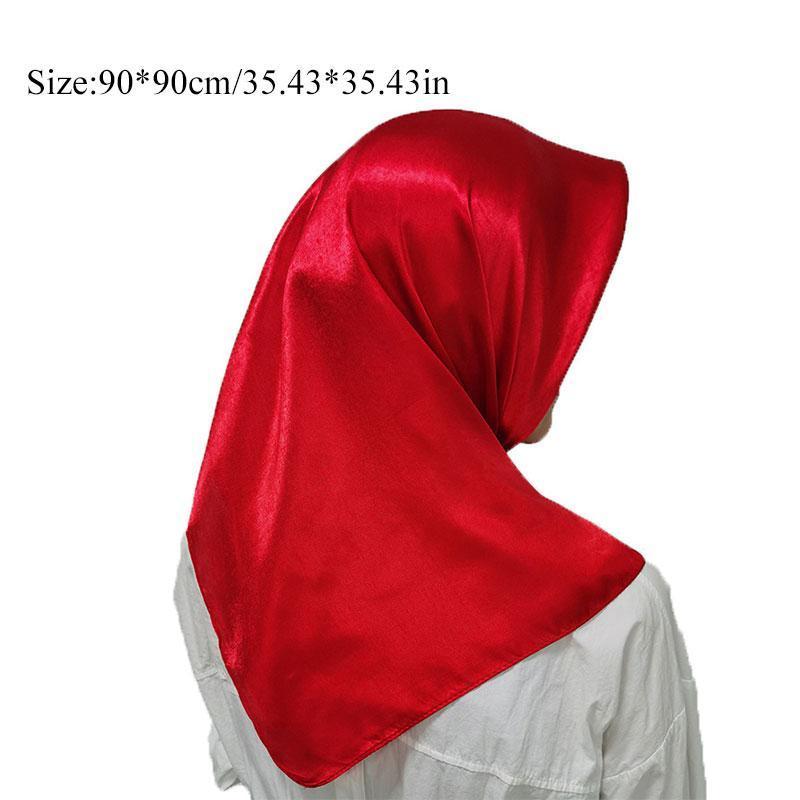 1 pc headpiece muçulmano cabeça lenços macio sensação de seda xale cabeça envoltório cor sólida lenço lenço grande quadrados lenços cachecol q sqcvrc