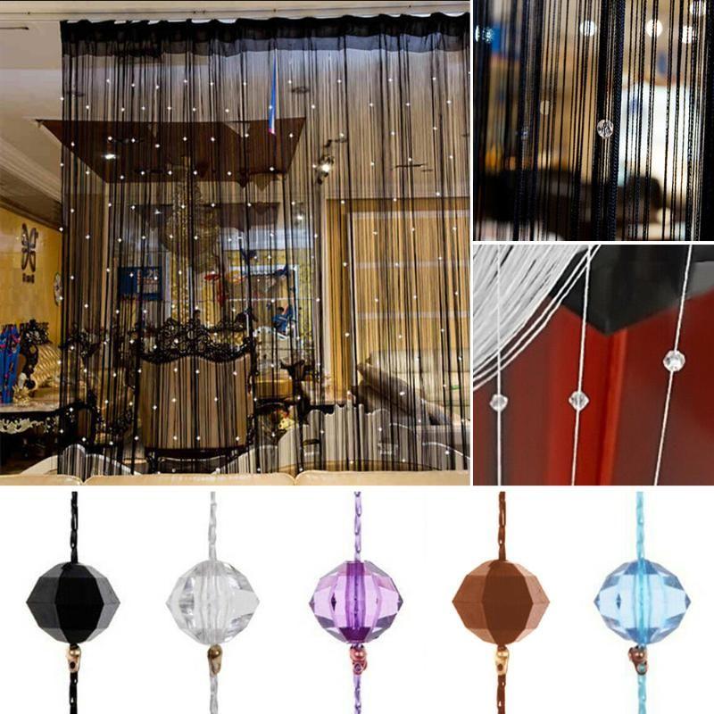 Negro Brillante Cadena Cadena cortina de la borla de la línea cortinas de la ventana de la puerta del divisor Drape Living Room Decor Valance decoración del hogar