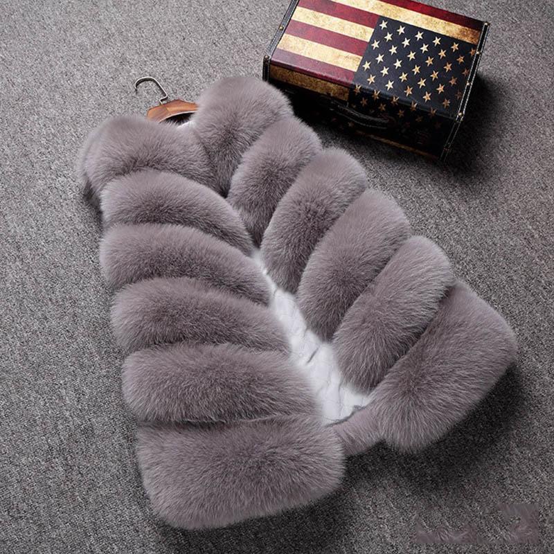 2020 Faux Fur Vest Female Fake Fur Coat Winter Vest Luxury Ladies Jacket Gilet Thick Furry Vests Coats