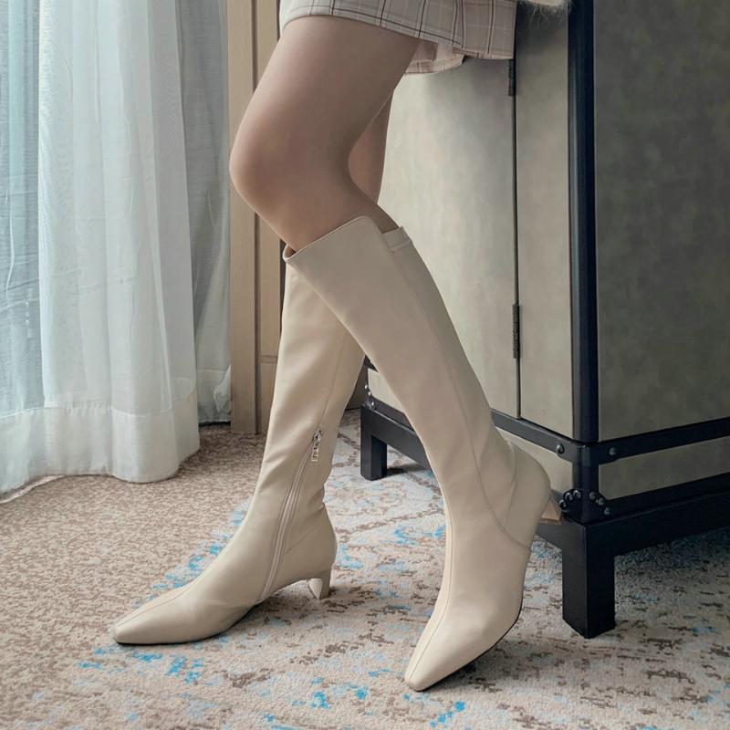 EshtonShero Printemps Hiver Femmes Cuissardes Bas Place Chaussures à talon Zipper bout pointu Noir Mesdames Motorcycle Boot Taille 2-9