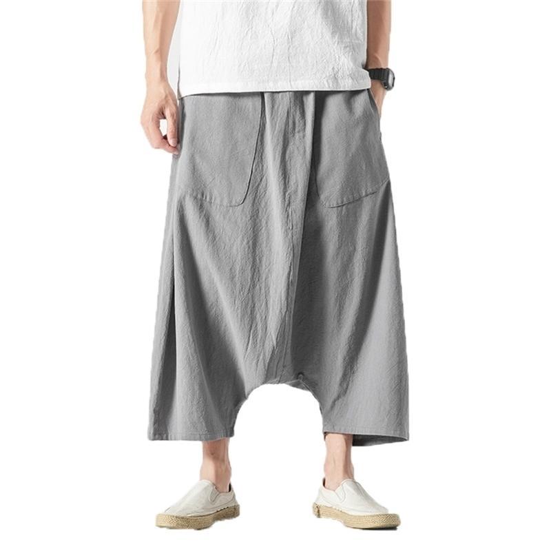 Coton Linge large jambe été hommes occasionnel mollet longueur mâle piste massif gros pantalon sac de poche pantalon Y201123