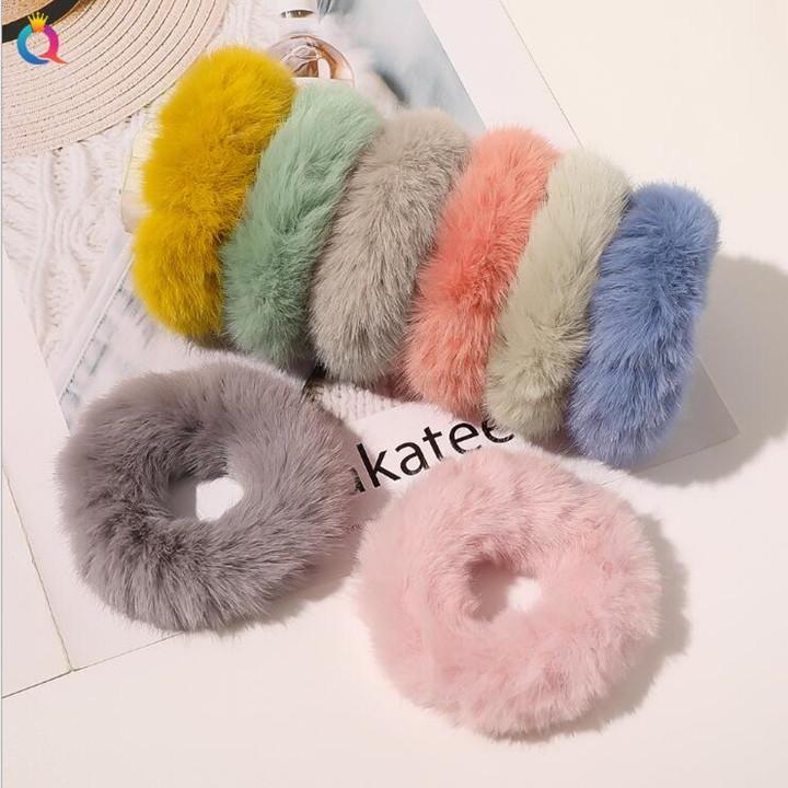 Women REX RABBIT Fur Headband Girls Elastic Hairband Imitation Bands Cute Soft Ponytail Hair Holder Rope headwear Hair Accessories WY955