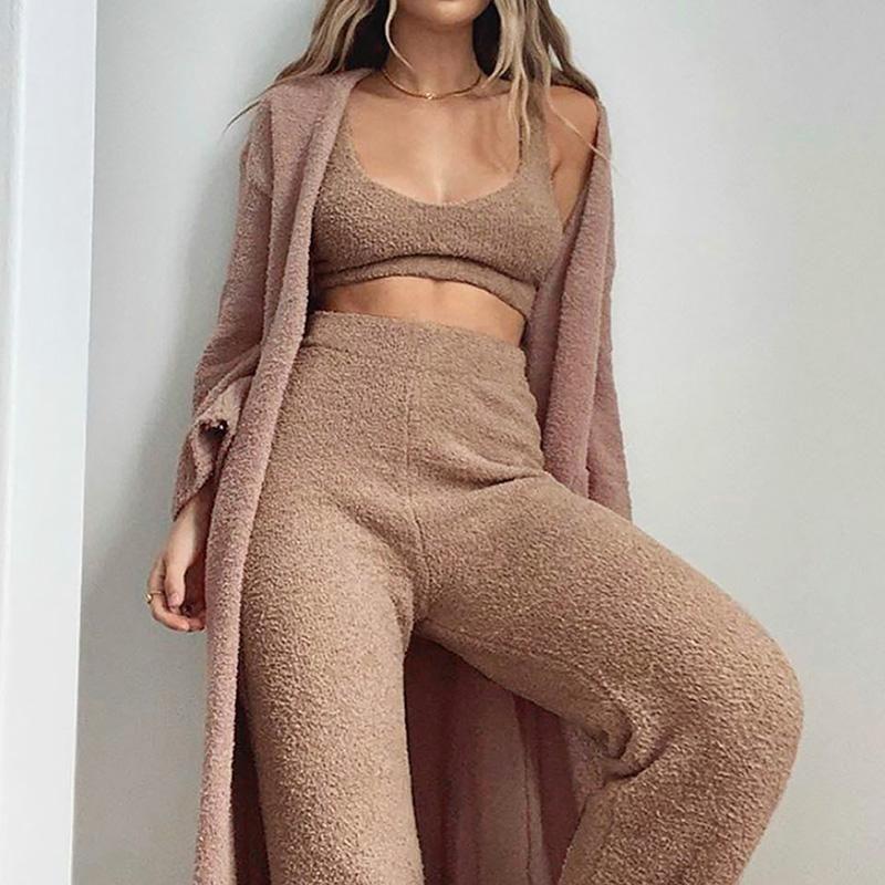 Invierno otoño piel de imitación 2 piezas conjunto en v-cuello esling + pantalones de cintura elástica femenino chaleco flaco de felpa sin mangas tops recortados pantalones