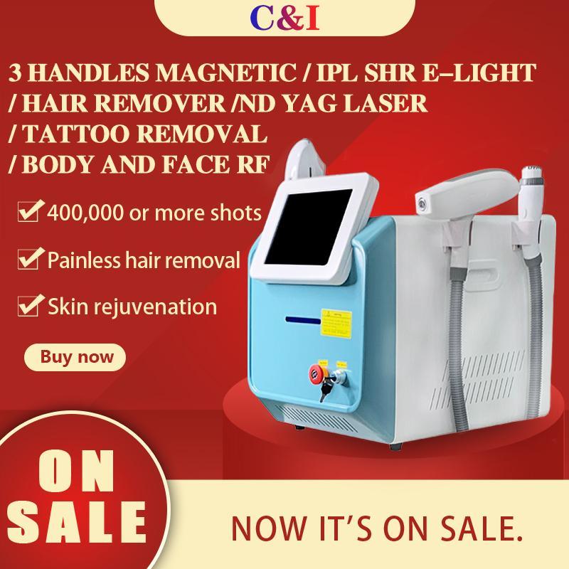 2020 متعددة الوظائف 3 في 1 إزالة الشعر بالليزر 360 مغنيسو البصرية العباءة RF الليزر الشعر / إزالة الوشم والبشرة تبييض معدات صالون التجميل