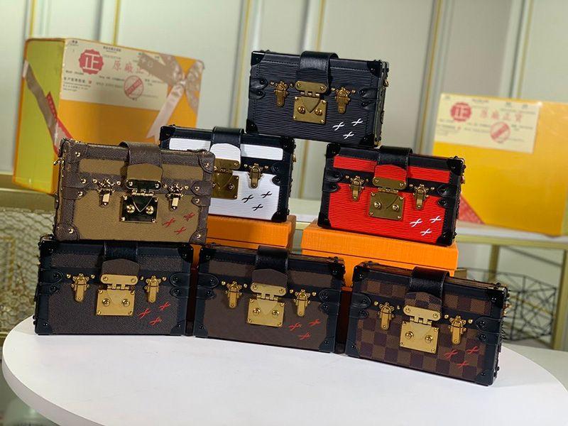 Diseñadores de lujos bolso para mujer Petite Malle bolsos Bolsos de pantalones de pantalones lisos Bolsas de hombro de Lady Bolsos de bolsos Mini bolsos de bolsos Bolso de marca con caja